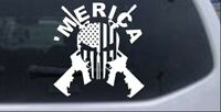 MERICA Punisher Skull Flag Crossed AR15 Car or Truck Window Laptop Decal Sticker