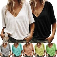 Summer Women Loose Short Sleeve T Shirt Casual Blouse Boho Tops Shirt Plus Size