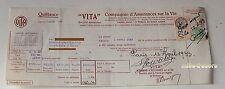 QUITTANCE VITA Avril 1933 Compagnie d'Assurances sur la Vie + TIMBRE FISCAL (2)