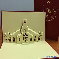 3D wedding card,engagement,anniversary,love,pop up church,couple, greeting card