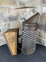 Rare Vintage Dadant & Sons Bee Hive Smoker Leather Bellows Heat Shield Handheld