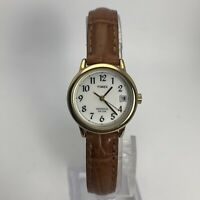 Timex Womens Indiglo Gold Tone Leather Band Analog Watch Easy Reader T2J761