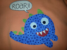 T SHIRT Orange ROAR MONSTER   Boy's Size 1  Professionally Hand Applique NEW