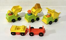 VINTAGE Fisher Price Little People Construction Lot Trucks Figures Crate