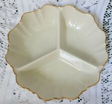 "Lenox Symphony Gold Divided 3 Section 8"" Round Scalloped Candy/ Relish Dish Ex"