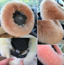3pcs Winter Steering Wheel Covers Wool Warmer Steering Wheel Cover Plush Covers