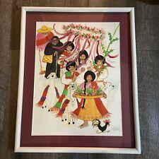 "San Antonio Texas Artist ADRIEL ""SQUEAKY"" MCGILL Painting of Family at Fiesta"