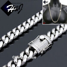 """30""""MEN Stainless Steel HEAVY 12x5mm Silver Miami Cuban Curb Chain Necklace*N157"""