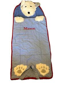 Pottery Barn Kids Blue Shaggy Puppy Dog Sleeping Bag Monogrammed MASON