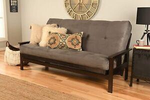Full Size Espresso Futon Frame & Mattress Sofa Bed Modern Futons (Grey)