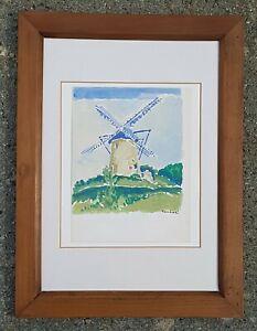Orfeo Tamburi ( Jesi 1910- Parigi 1994 )Mulino a vento, acquerello con autentica