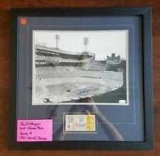 JOE DIMAGGIO 11 x 14 Autograph w/ 1951 World Series Ticket Framed JSA Signed NYY