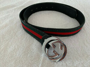GUCCI Green Red Web Black Leather Silver GG Buckle Belt Size 48