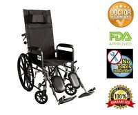"Recliner Back 18"" Wheelchair Full Arm Detachable W/elevating Legrests"