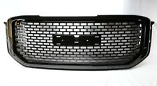 Honeycomb Square Mesh Front Gloss Black Bumper Hood Grill for GMC Yukon 15-17