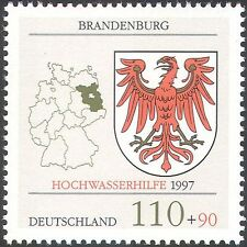 Germany 1997 Flood Relief Fund/Map/Eagle/Shield/Coat of Arms/Heraldry 1v n31339