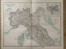 1912 NORTH ITALY LARGE ANTIQUE COLOURED MAP BY JOHNSTON