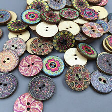 100x Mixed Fairy Colorful Flowers Wood Buttons Scrapbooking Sewing Craft 20mm