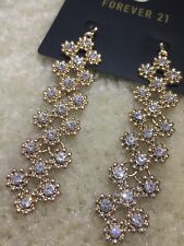 NEW Forever 21 Sexy Fashion Diamond Crystal Rhinestone Gold Drop Dangle Earrings