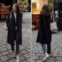 Women Winter Warm Wool Lapel Trench Parka Coat Jacket Long Slim Overcoat Outwear
