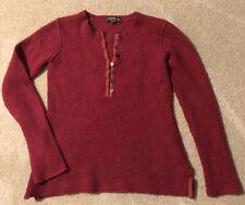 Eddie Bauer Womens Small Sweater Dark Red Lambs Wool Angora Rabbit Pullover