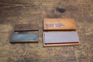 "(2) Diamond Sharpening Stone DMT, 2 x 6"", & 1 x 4"", Nice Condition Wood Box"