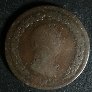LC-47B1 One Penny token 1812 Lower Bas Canada Quebec Tiffin TF-34 Breton 958