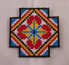 Embroidered Southwest Santa Fe Mosaic Art Flower Cross Patch Iron On Sew On USA