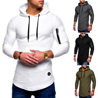 Men Hooded T-Shirt Zip Long Sleeve Muscle Hoodie Slim Fit Sweatshirt Casual Tops
