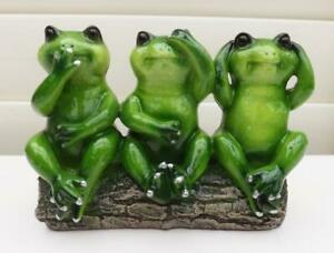 3 WISE GREEN FROGS RESIN GLOSS FINISH ORNAMENT STATUES FIGURINES  NEW