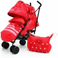 Baby Toddler Travel Stroller Bow Dots Red Limited Edition Pram +Changing Bag New