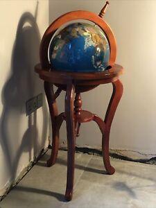 "Large Floor Standing Semi Precious Gemstone Globe Wooden Stand Lapis 39"" X 19"""