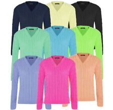 New Ladies Plain V Neck Cable Knitted Jumpers Long Sleeve Sweater Top