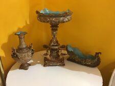 3 piece majolica jardiniere vase table top center set