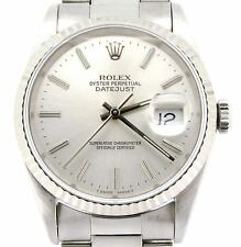 Rolex Datejust Men Stainless Steel & 18K White Gold Oyster Silver No Holes 16234