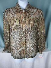 Alfred Dunner Sheer Blouse 16 W Top Animal Instinct Print Green Brown Beige NWT