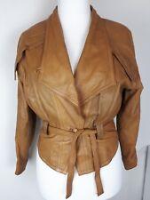 Size 14/16 Women's Vera Pelle Italian Brown Leather Jacket Vintage 80's