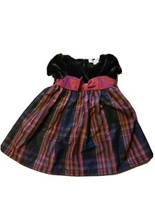 George Dress Size 3/6 Months Christmas Plaids Bow Velvet Burgundy