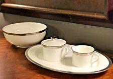 Ralph Lauren Hewitt Platinum 5 Piece SERVING SET Platter Bowl Creamer Sugar NEW