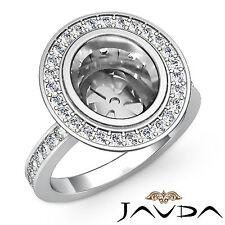 Diamond Engagement Ring Oval Shape Semi Mount Halo Pave Set Platinum 950 1.25Ct