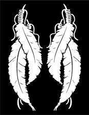 Native American Feathers Decal Headdress mirrored image set vinyl car sticker
