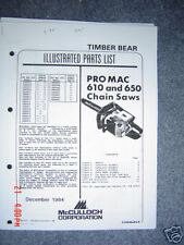 McCulloch Pro mac 610 and 650 Parts list
