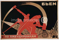 Smite The Lazy Worker Vintage Russian Propaganda Poster 18x24