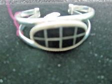 Cuff Bracelet Onyx Windowpane Design 925 Solid Sterling Silver 7.5-8 ins New