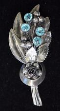 Vintage 40s Signed HOBE STERLING Blue Rhinestones FLOWERS BOUQUET Brooch 38.75g