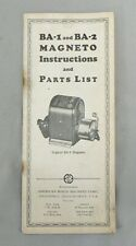 VINTAGE BA-1 AND BA-2 MAGNETO INSTRUCTIONS AND PARTS LIST