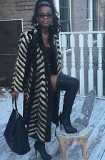 Designer Full length Sable hue & Beige white multicolor Mink Fur Coat stroller M