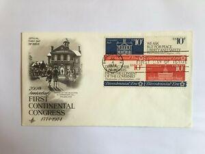 UNITED STATES USA 1974 FDC ART CRAFT CONTINENTAL CONGRESS BLOCK OF 4