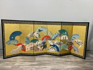 Japanese Fan Painting Floor Screen Inscribed and Signed