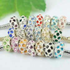 Wholesale Lots Mixed 100PCS Crystal Charms Beads Fit European Bracelet & Bangle